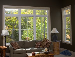 Earthwise picture windows and transoms from Showcase create an elegant, cozy look